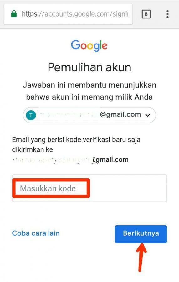 Capture pemulihan melalui email pemulihan, Paste Kode verifikasi, tap berikutnya