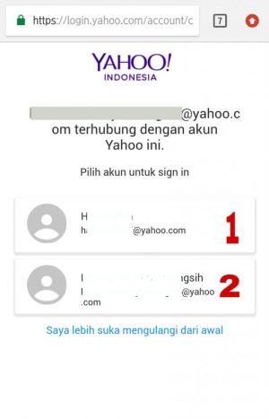 Gambar 4. Pilih dan ketuk yang mana ID Yahoo Mail kamu