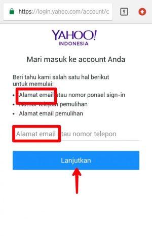 Ketik alamat email, lalu lanjutkan