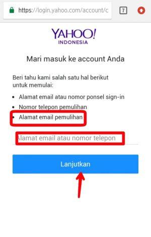 Gambar 2. Ketik alamat email pemulihan kemudian lanjutkan.