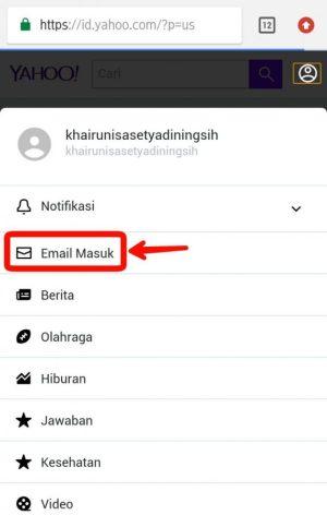 Tap email masuk
