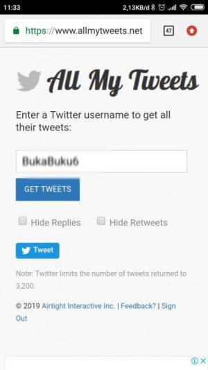 Masukkan username Twitter kamu di laman ini