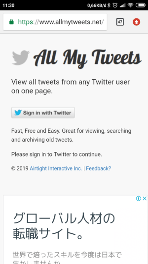 Halaman utama allmytweets.net