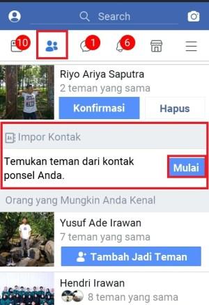 """""""Impor kontak"""" untuk mencari akun facebook berdasarkan kontak"""