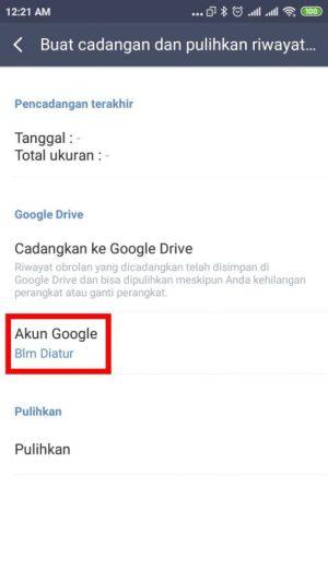 "klik ""akun google"" untuk menghubungkan ke Google Drive"