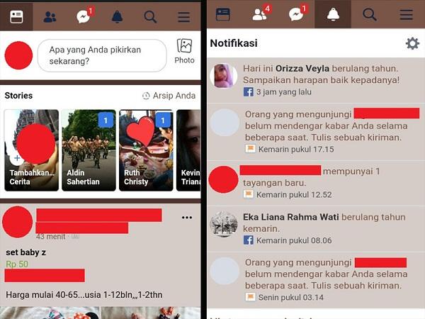 tampilan Facebook yang baru dengan warna tema sesuai dengan keinginan