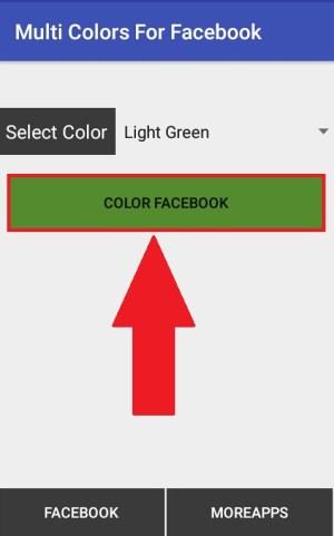 """Memilih tombol """"Color Facebook"""" supaya diarahkan ke halaman login"""