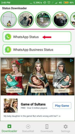 Pilih WhatsApp status