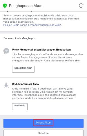 Laman hapus facebook