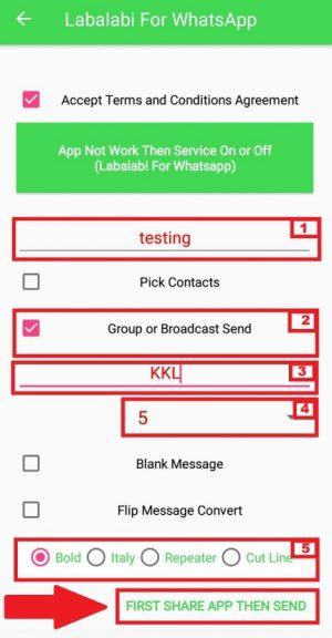 Contoh pengaturan penggunaan aplikasi Labalabi for Whatsapp untuk bom chat grup