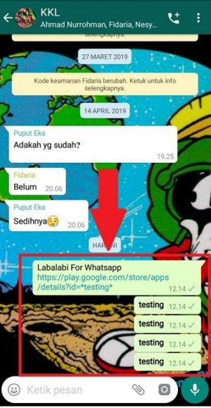Contoh hasil bom chat grup di Whatsapp
