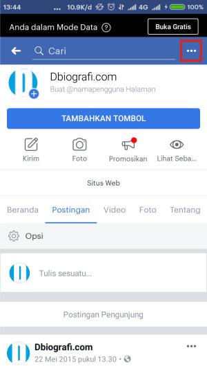 Di laman Halaman/Fanpage, klik tiga titik.