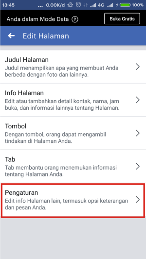 Cari dan klik menu pengaturan.