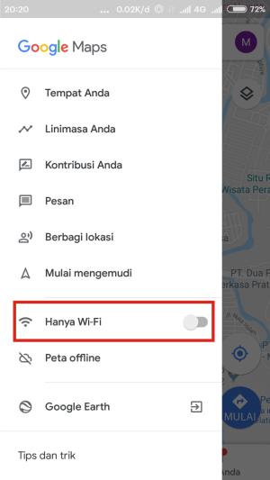 Aktifkan Hanya WiFi untuk memutus jaringan internet HP dan Google Maps.