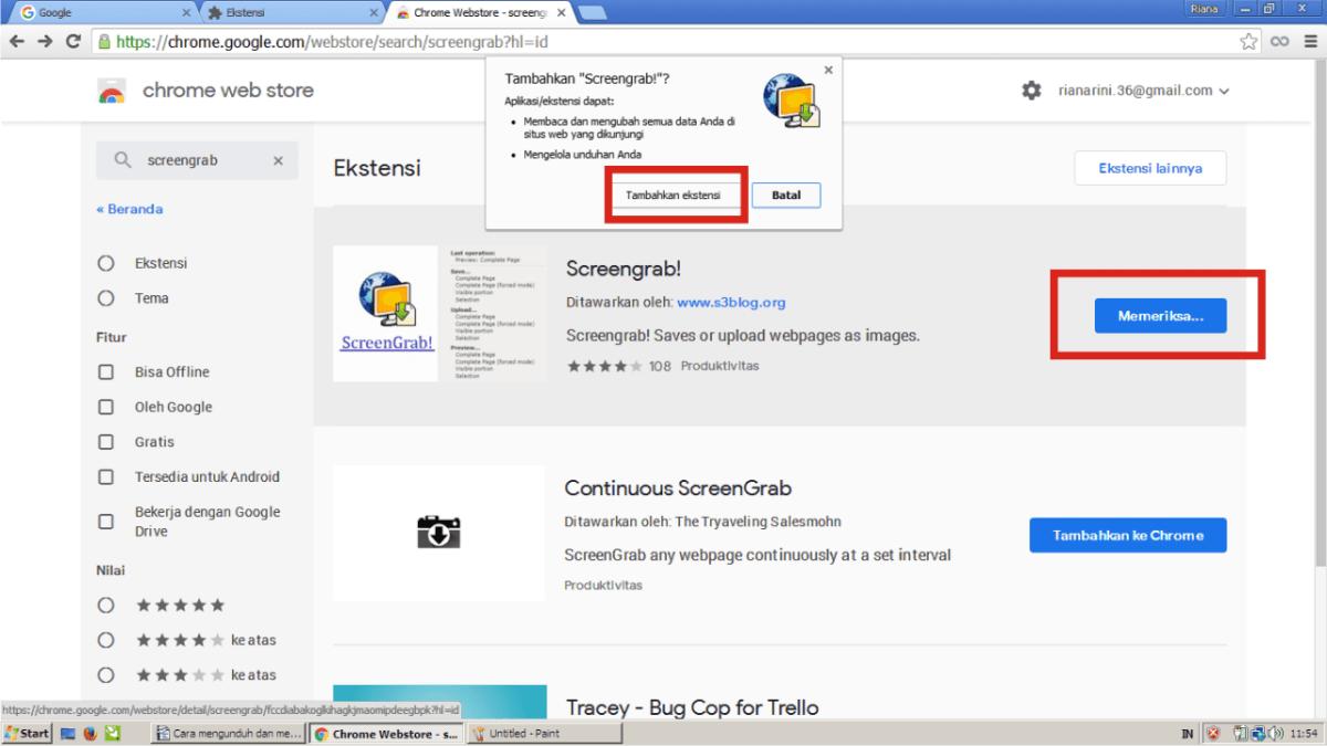 Pasang ekstensi Screengrab di Google Chrome.