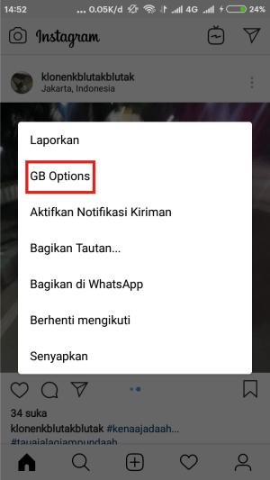 Klik GB Options.