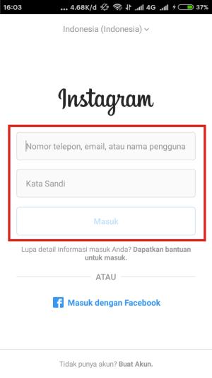 Login instagram mod pakai email atau no telpon aja ya.