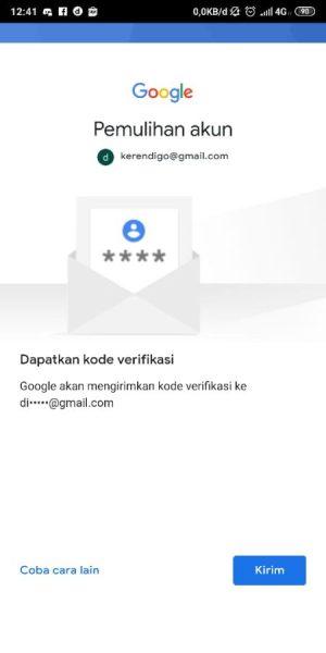 Pemulihan akun menggunakan Gmail