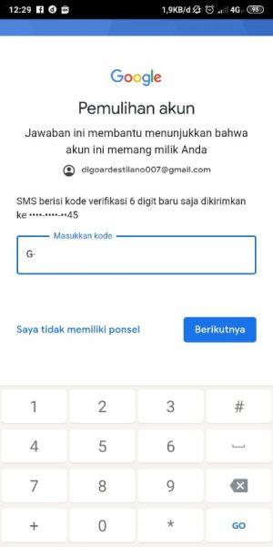 Masukkan kode yang dikirim melalui SMS