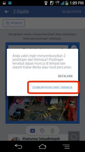 Tap sembunyikan dari linimasa/hapus posting