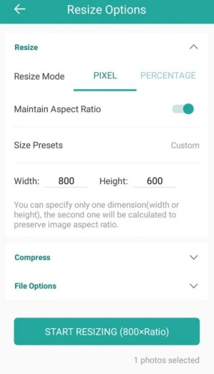 Tampilan aplikasi untuk resize foto