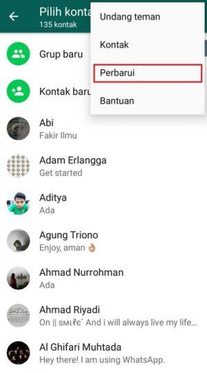 perbarui daftar kontak di Whatsapp