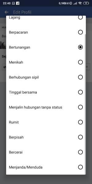 Pilih status yang ingin diubah