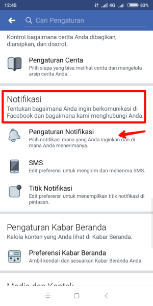 Tap menu notifikasi kemudian tap pengaturan notifikasi