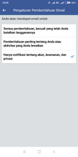Menu pengaturan notifikasi email via fb browser