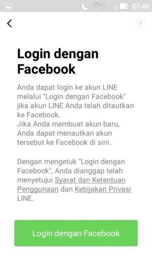 ketuk menu Login dengan Facebook
