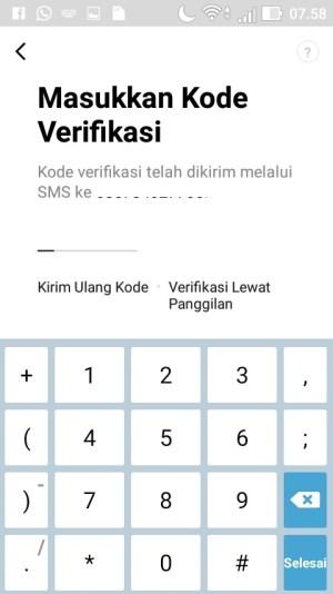 Masukkan kode verifikasi yang telah dikirim LINE melalui SMS.