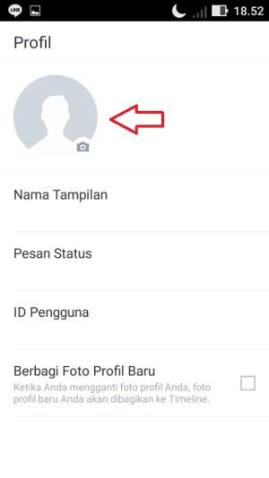 Ketuk ikon bulat yang ada di pojok kiri atas untuk mengganti foto profil