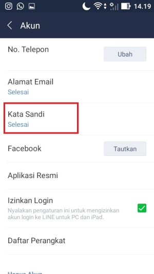 """Klik menu """"Kata Sandi"""""""