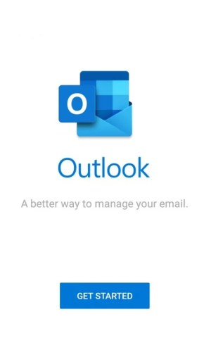 Halaman utama aplikasi Outlook Mobile