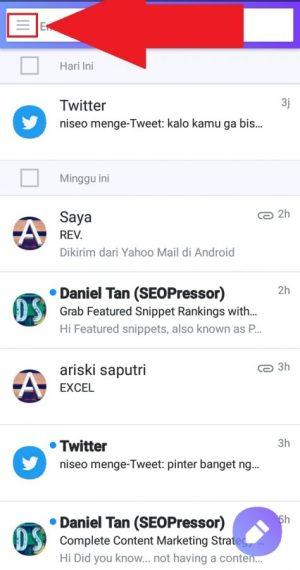 Halaman utama aplikasi Yahoo Mail saat berhasil login