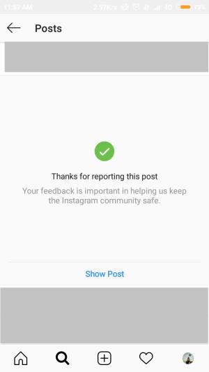 jika postingan berhasil dilaporkan, akan muncul ucapan terima kasih