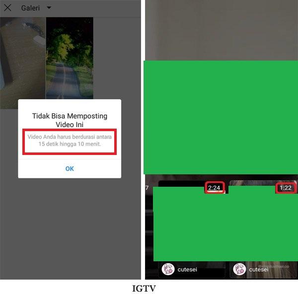IGTV menerima konten 15 detik hingga 10 menit