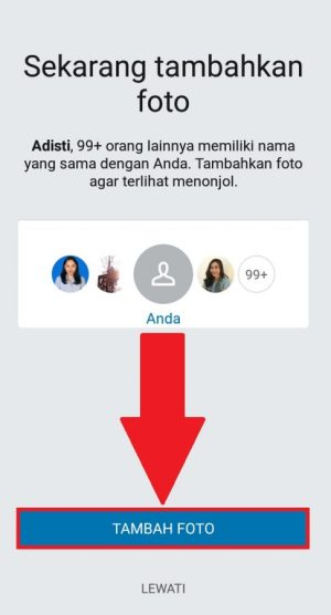 Unggah foto untuk menambahkan foto profil LinkedIn