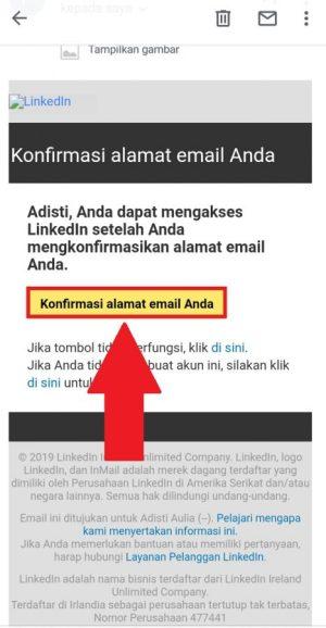 Email konfirmasi dari LinkedIn