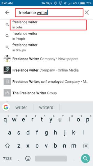 tap untuk memunculkan hasil pencarian