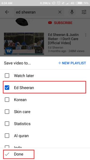tap playlist yang ingin kamu tambahkan video ke dalamnya
