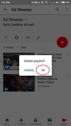 tap OK untuk melanjutkan penghapusan playlist