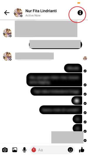 tap icon huruf i pada percakapan rahasia