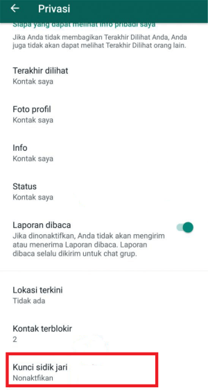 klik menu kunci sidik jari