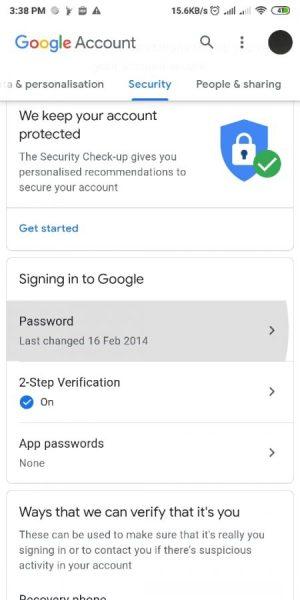 verifiksi dua langkah sudah aktif
