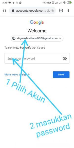 Pilih akun dan masukkan password