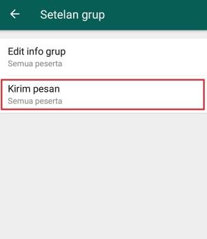 """Pilih """"Kirim pesan"""" untuk mengatur siapa yang dapat mengirim pesan kedalam grup"""