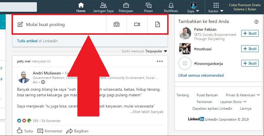 LinkedIn Post yang dapat digunakan untuk posting konten singkat hingga 1.300 karakter