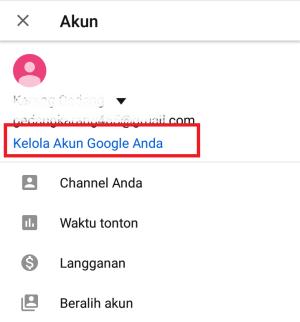 klik link kelola akun google anda