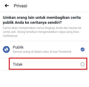 klik pilihan tidak